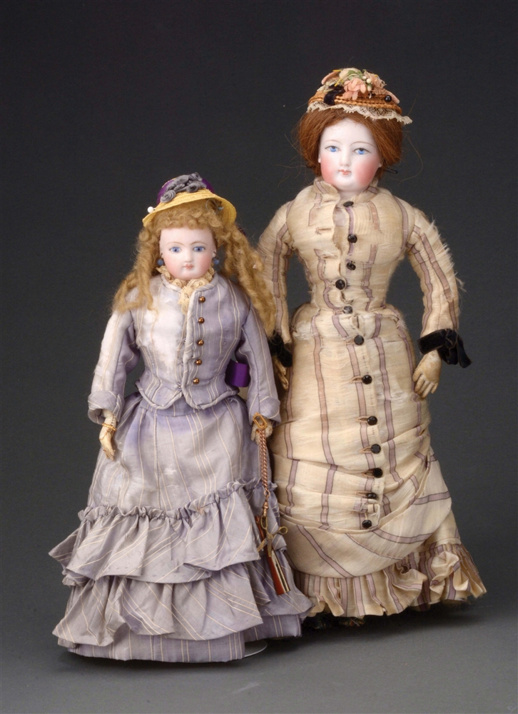 LOT OF 2 1880S PERIOD FRENCH FASHION-TYPE DOLLS.