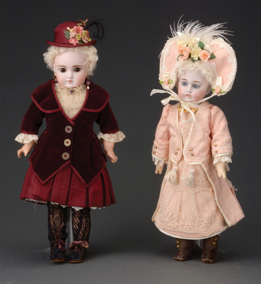 "LOT OF 2 GERMAN CLOSED MOUTH ""BELTON""-TYPE DOLLS."