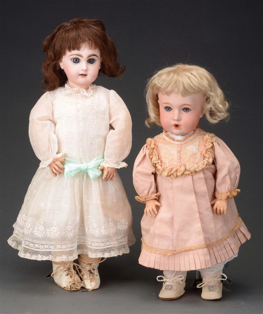 LOT OF 2: OPEN MOUTH FRENCH BISQUE DOLLS.
