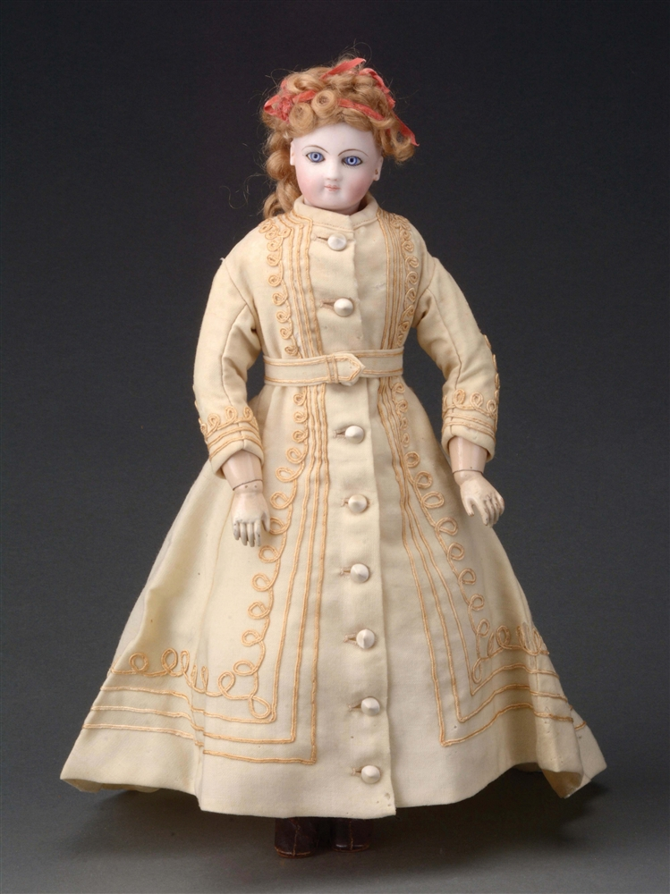 LOVELY FRENCH FASHION DOLL ON FULLY-ARTICULATED WOODEN BODY.