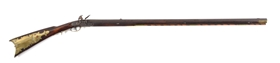 (A) FULLSTOCK KENTUCKY FLINTLOCK .50 CALIBER RIFLE SIGNED JOHN PALM NO. 32