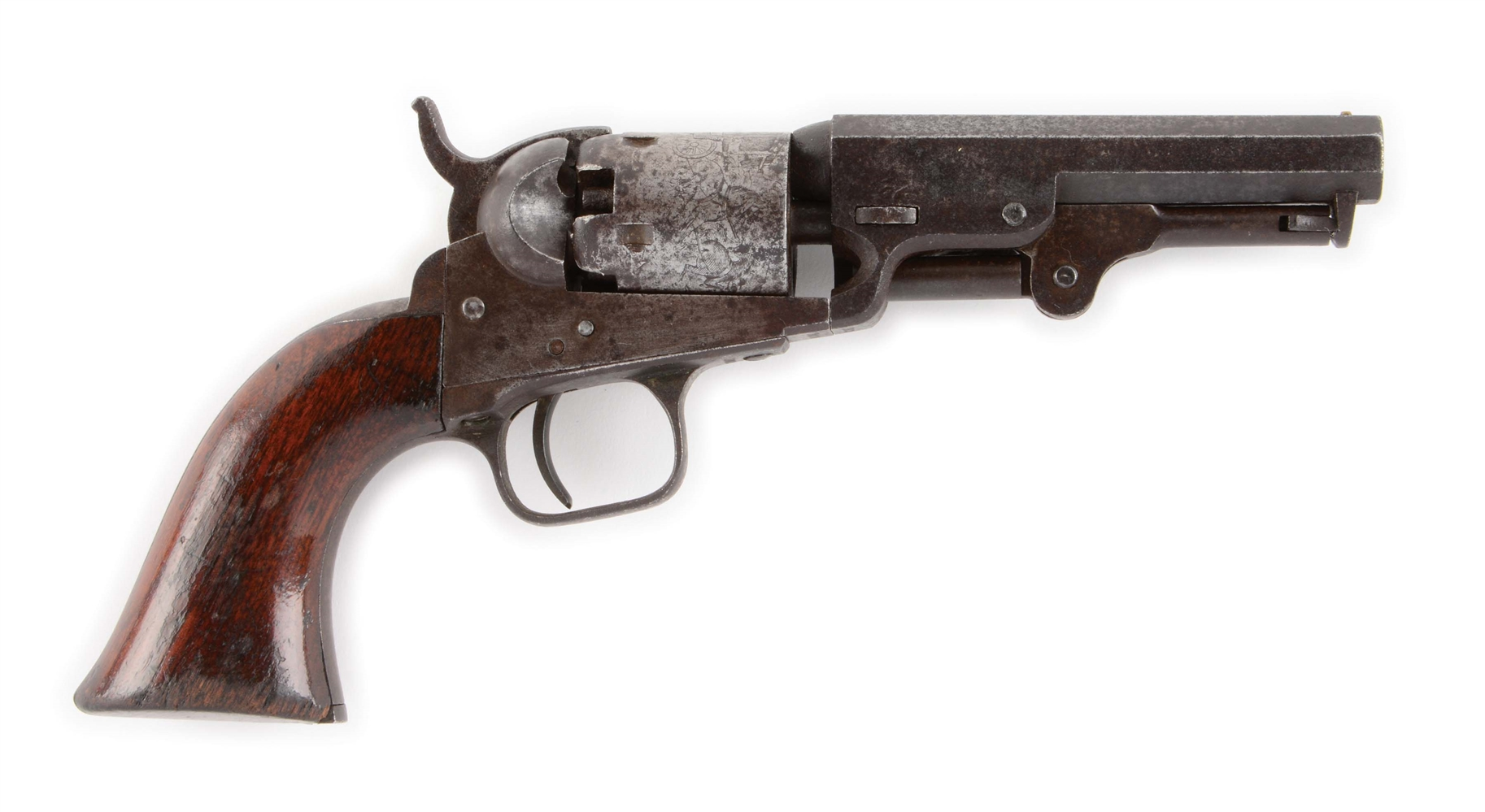 (A) COLT 1849 POCKET PERCUSSION REVOLVER, MADE IN 1861.