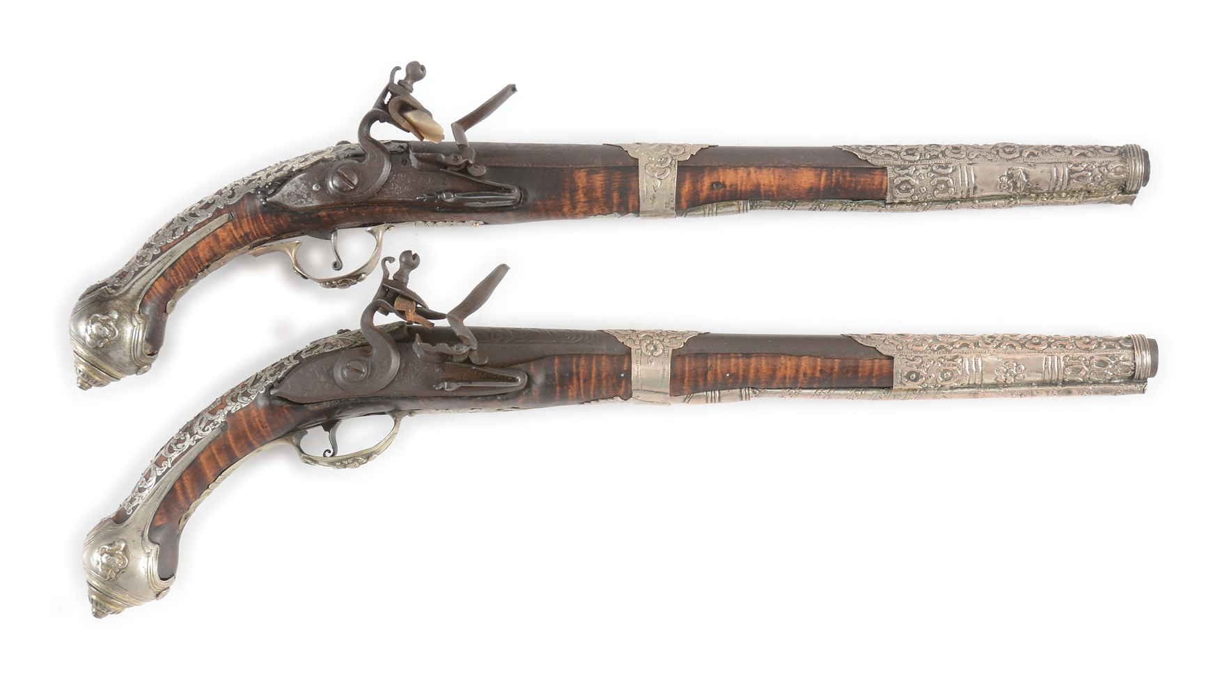 (A) PAIR OF SILVER MOUNTED OTTOMAN FLINTLOCK HOLSTER PISTOLS.