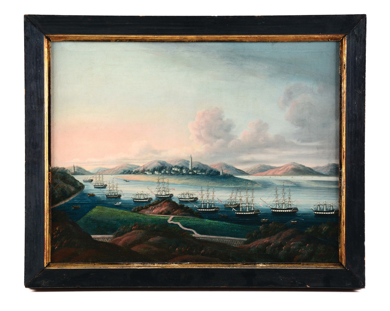 OIL ON CANVAS CHINESE EXPORT PAINTING OF WAMPOA REACH CHINA CIRCA 1830.