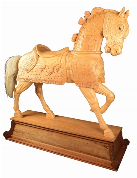 JIM SMOCK CARVED CAROUSEL HORSE.