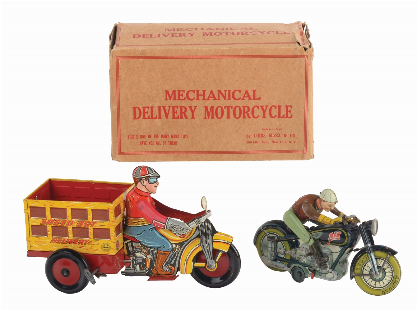 LOT OF 2: GERMAN AND AMERICAN MADE TIN-LITHO MOTORCYCLE WIND-UP TOYS.