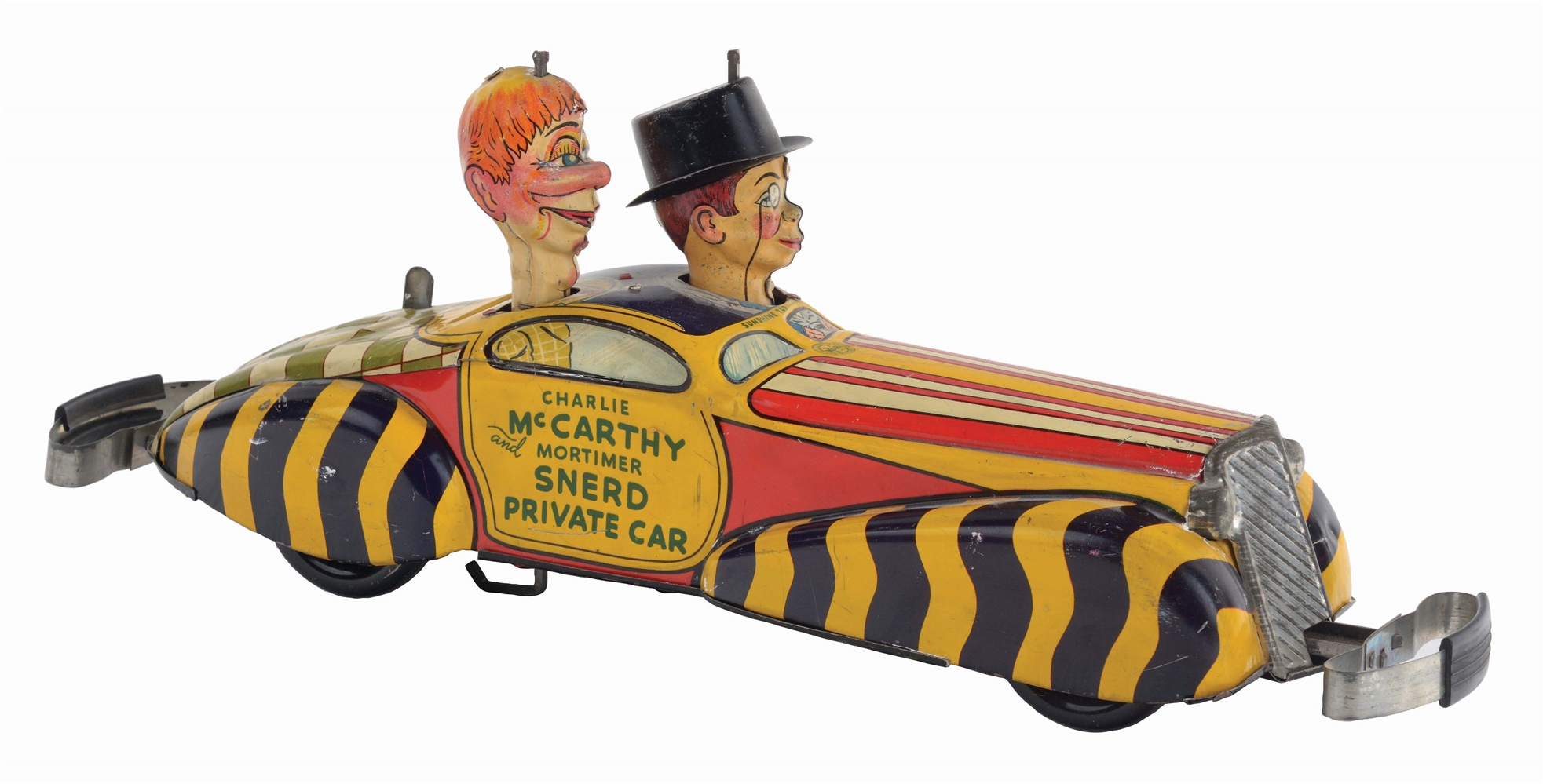 MARX TIN-LITHO CHARLIE MCCARTHY & MORTIMER SNERD PRIVATE CAR.