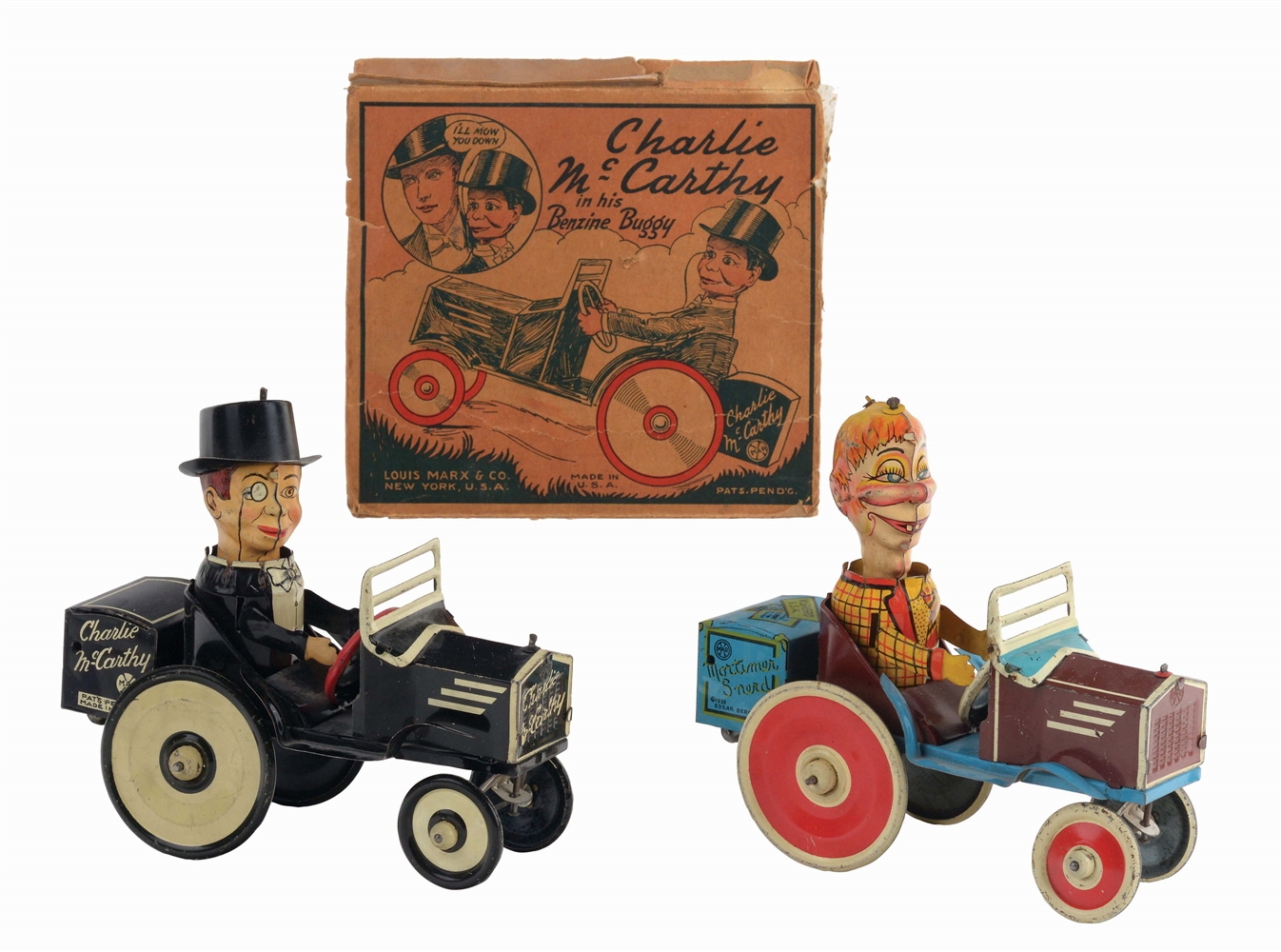LOT OF 2 MARX TIN-LITHO WIND-UP COMIC CHARACTER WHOPPEE CAR TOYS.