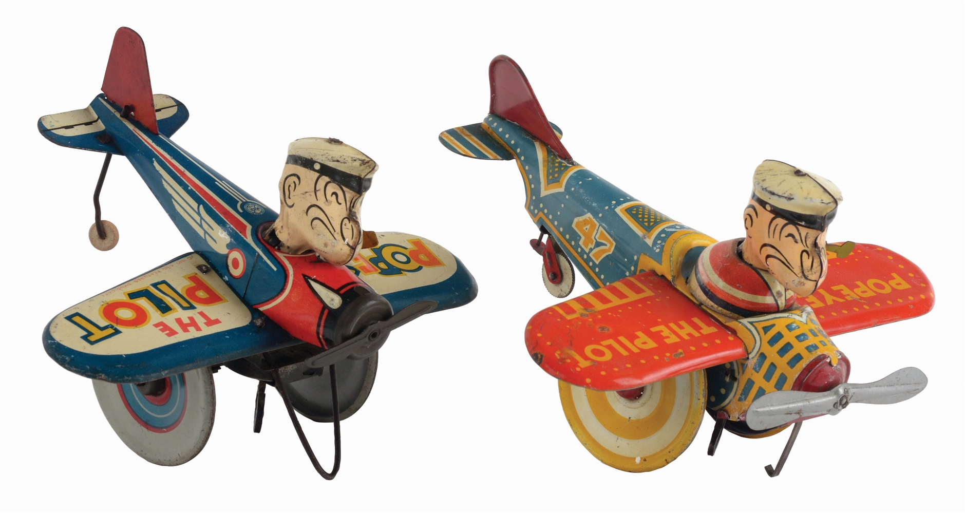 LOT OF 2: MARX TIN-LITHO WIND-UP POPEYE AIRPLANE TOYS.