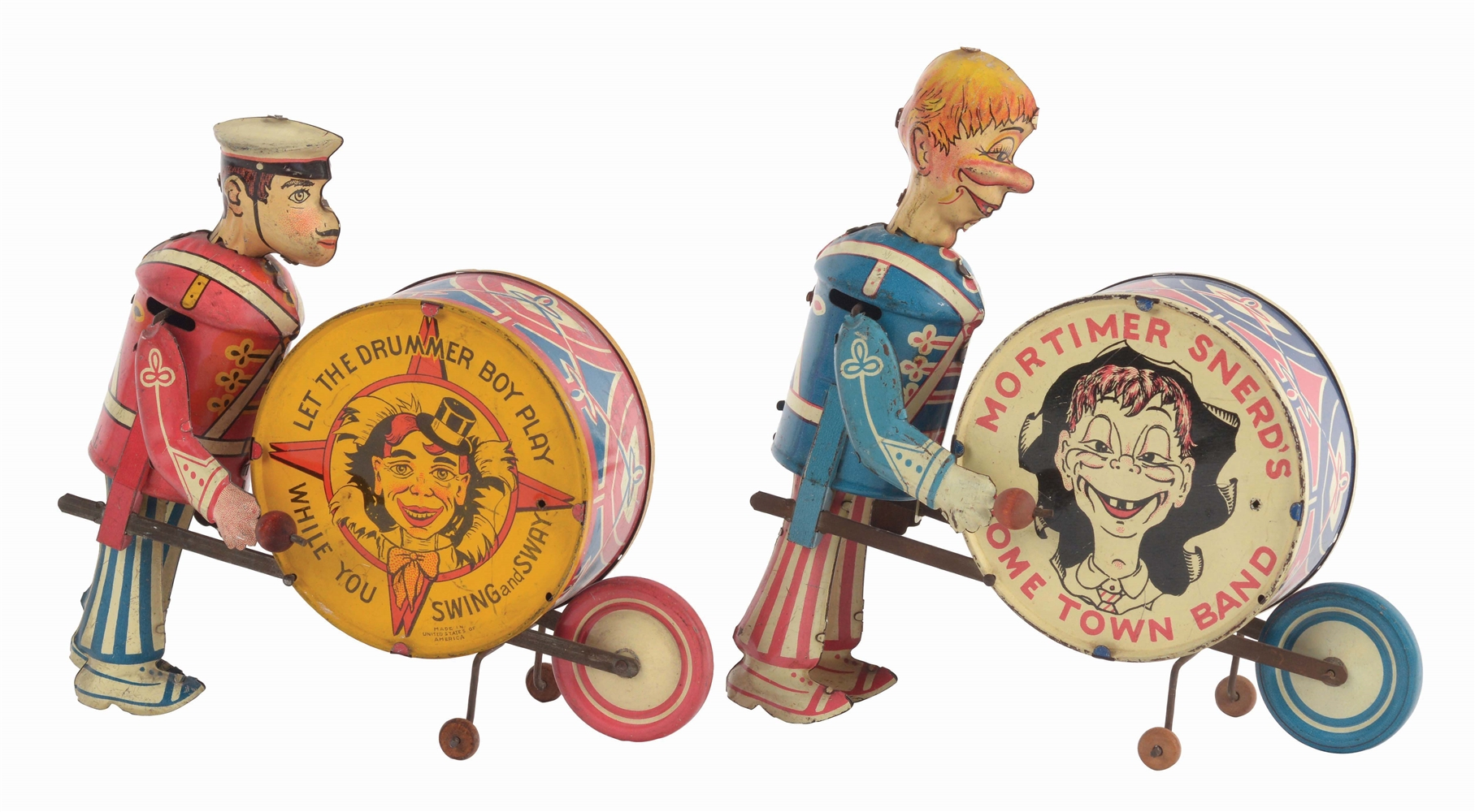 LOT OF 2: MARX TIN-LITHO WIND-UP HOMETOWN BAND TOYS.