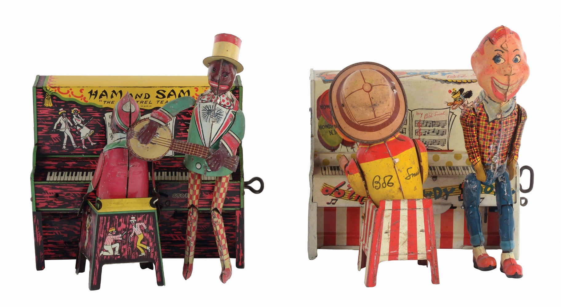 LOT OF 2: AMERICAN MADE TIN-LITHO CHARACTER BAND TOYS.