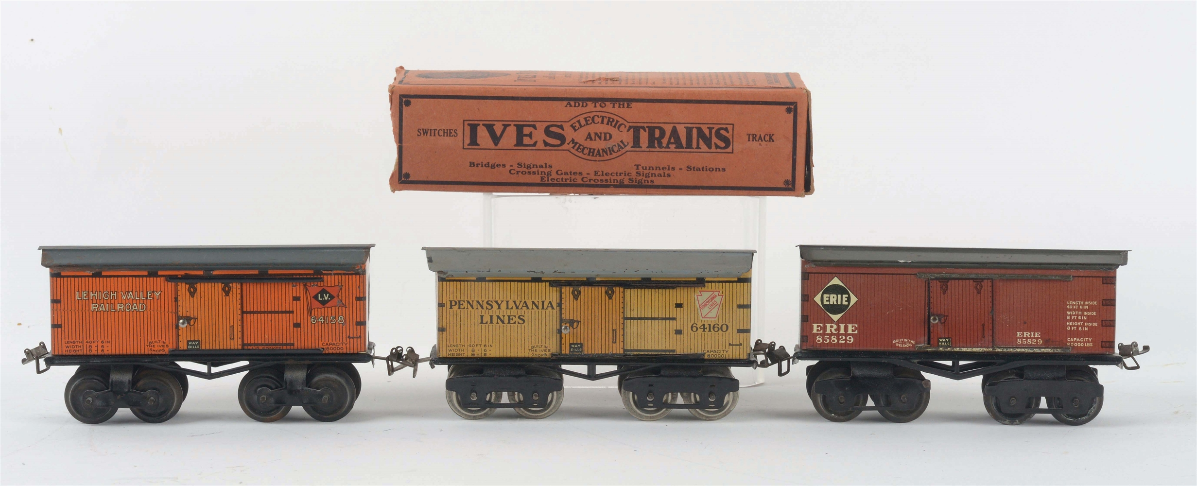 LOT OF 3: IVES O-GAUGE BOXCARS.