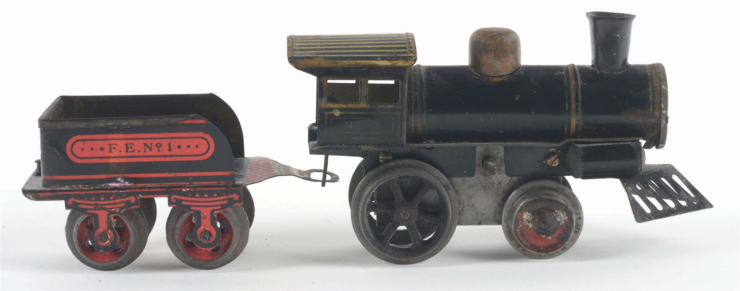 EARLY IVES O-GAUGE NO. 3 STEAM ENGINE AND MATCHING TENDER.