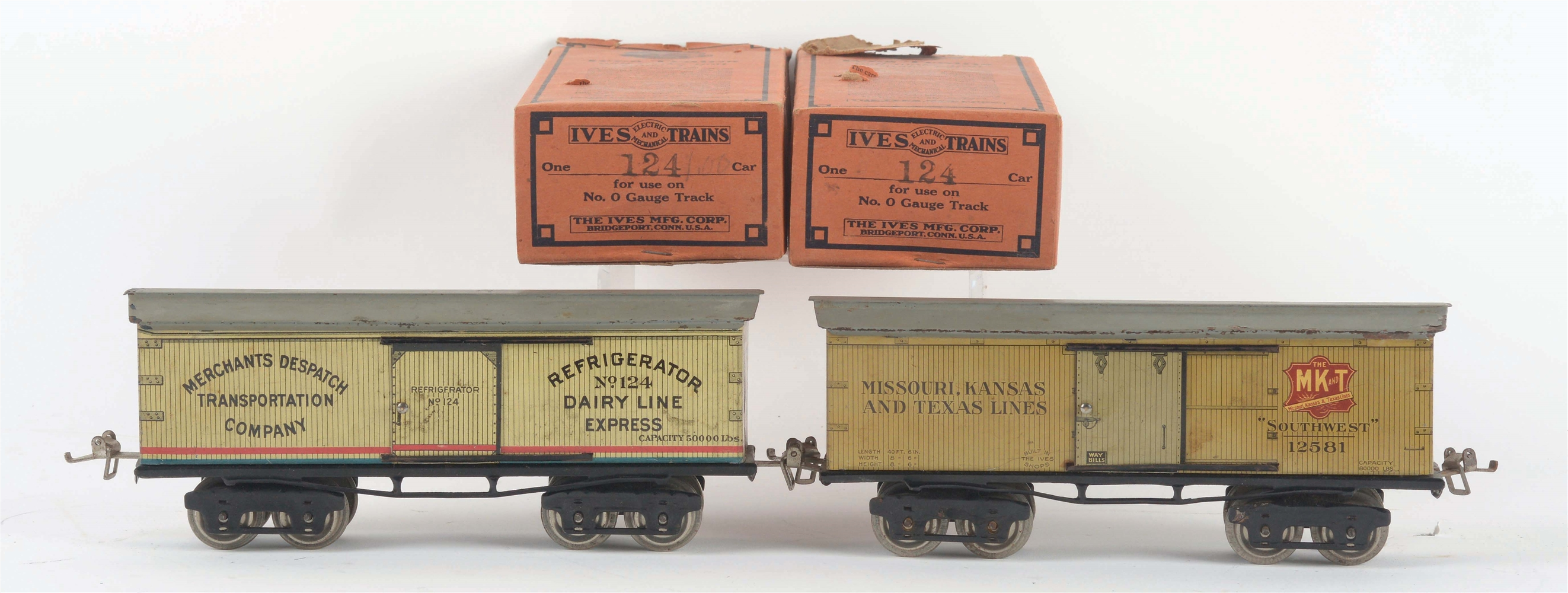 LOT OF 2: IVES O-GAUGE BOXCARS.