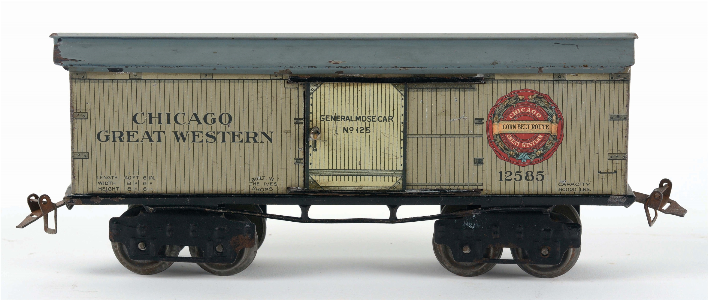 IVES O-GAUGE CHICAGO GREAT WESTERN BOX CAR.