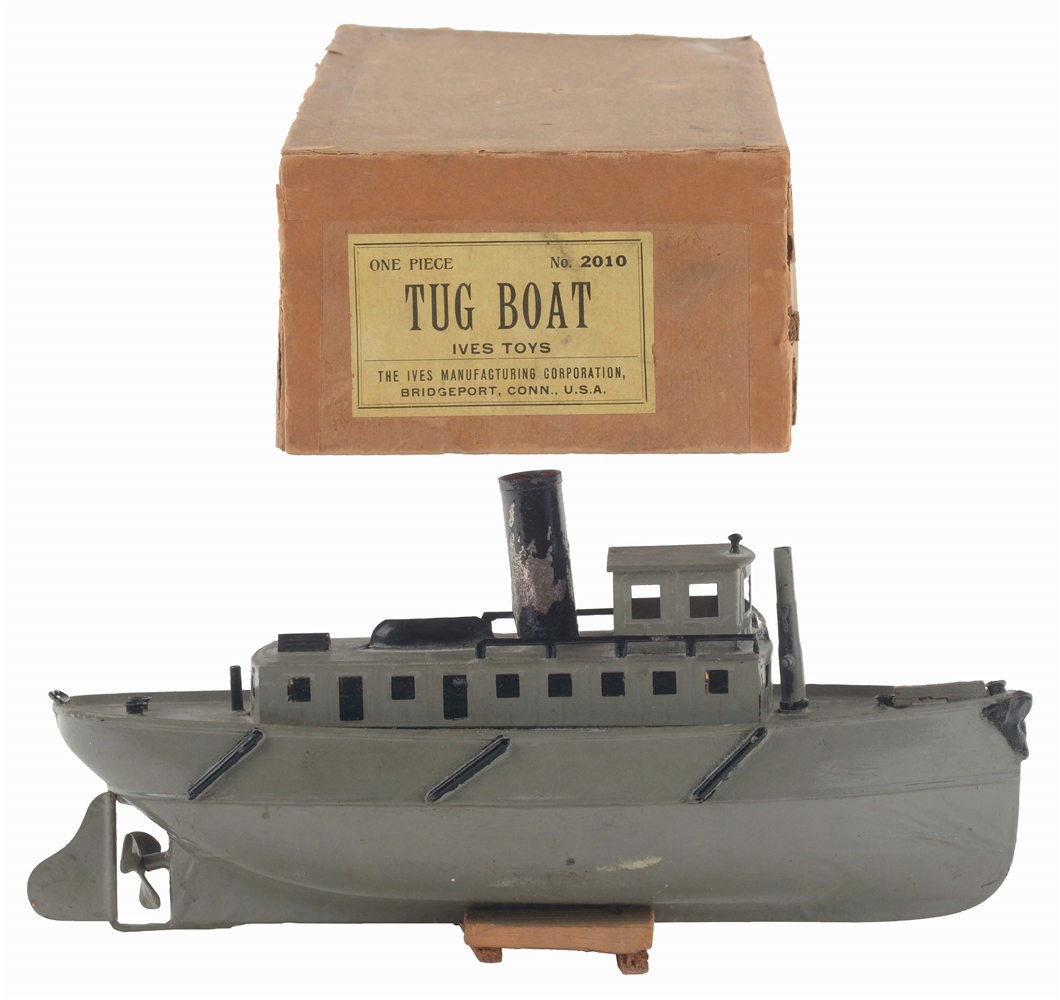 EARLY IVES PRE-WAR HAND-PAINTED CLOCKWORK TUG BOAT IN THE ORIGINAL BOX.
