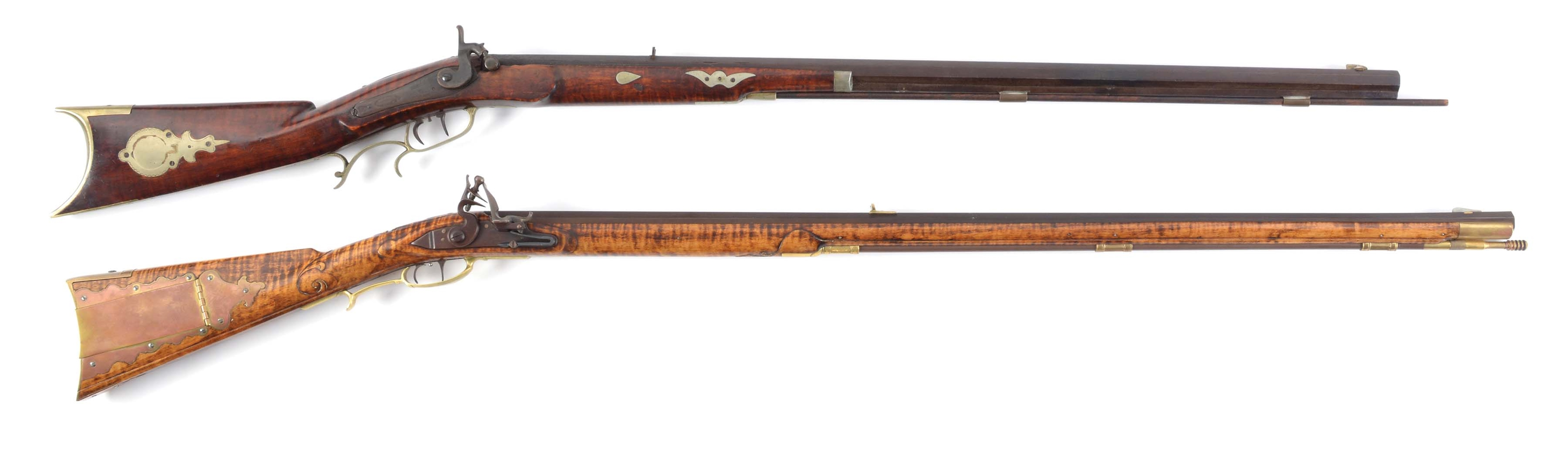 (A) LOT OF TWO: FISHER PERCUSSION .36 CALIBER LONG RIFLE AND CONTEMPORARY FLINTLOCK .50 CALIBER RIFLE.