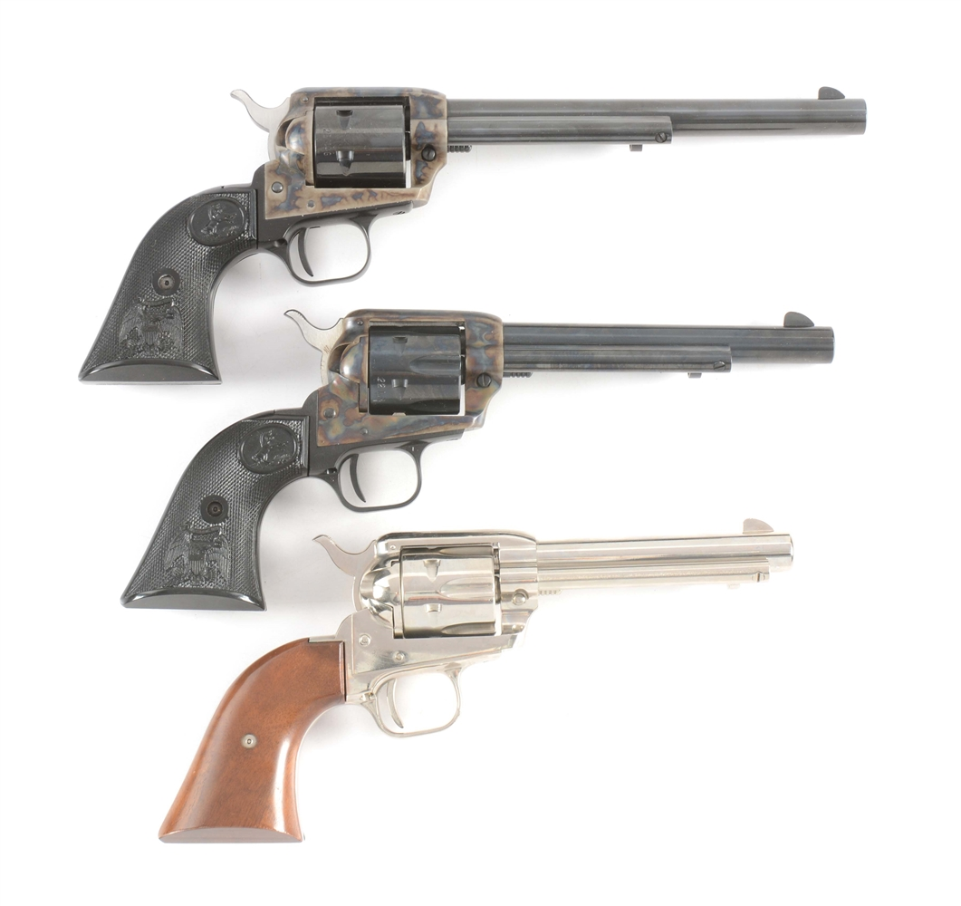 (M) LOT OF THREE: TWO COLT PEACEMAKERS AND A FRONTIER SCOUT SINGLE ACTION REVOLVERS.