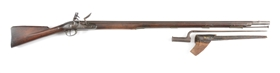 (A) DUBLIN CASTLE MARKED FLINTLOCK MUSKET WITH 40TH REGIMENT MARKED BAYONET AND SCABBARD.