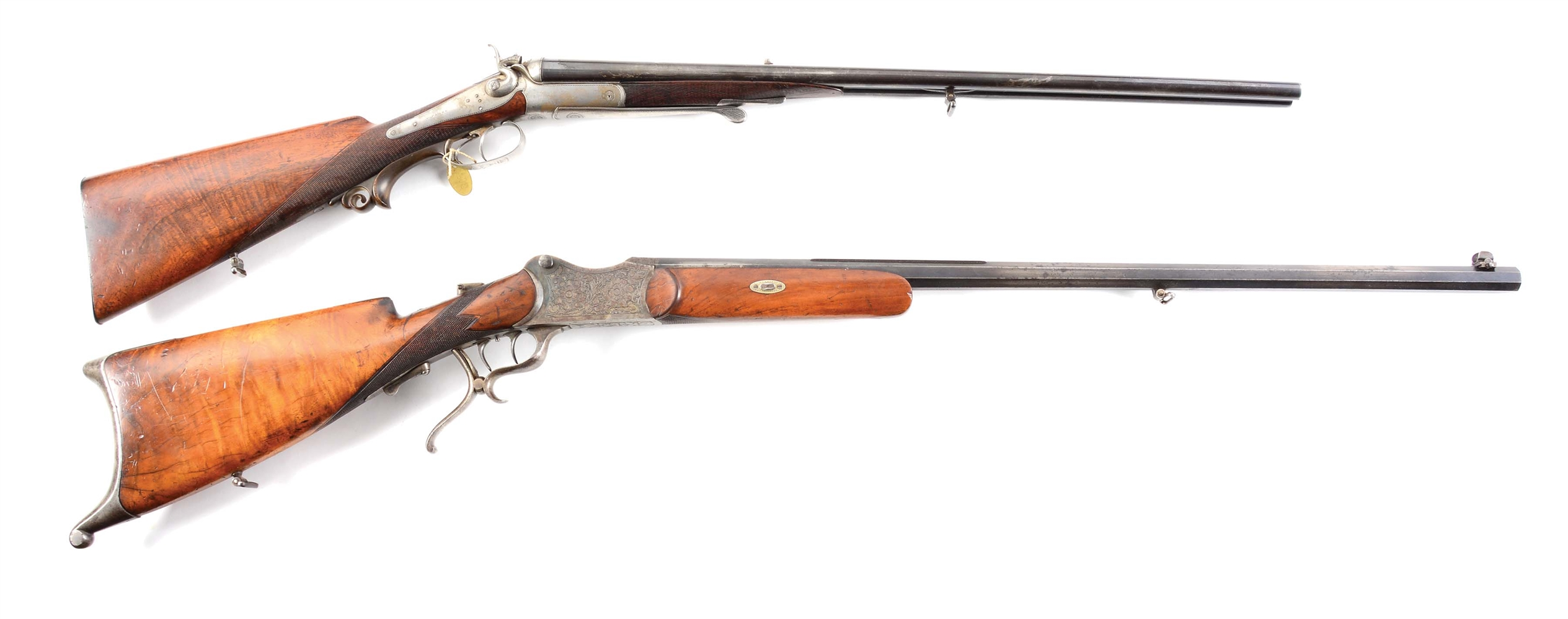 (A)LOT OF TWO: J. NOWOTNY .44 DOUBLE RIFLE AND AUSTRIAN SCHUETZEN 8.15 SINGLESHOT RIFLE