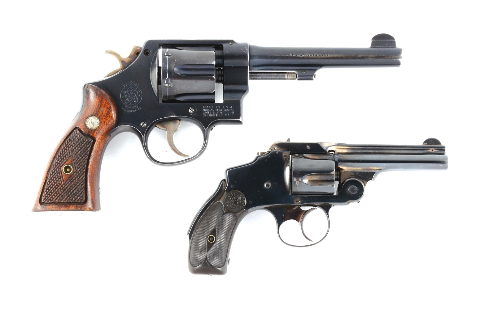 "(A+C) LOT OF TWO: SMITH AND WESSON 1950 HAND EJECTOR SMITH AND .38 HAMMERLESS ""LEMONSQUEEZER""."