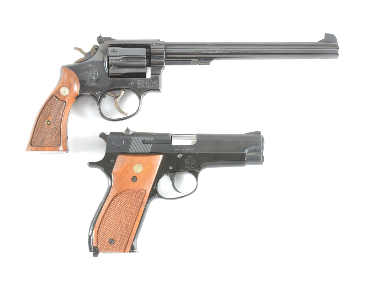(M) LOT OF TWO SMITH AND WESSON PISTOLS: MODEL 14 .38 REVOLVER AND MODEL 39-2 9MM SEMI AUTOMATIC PISTOL.