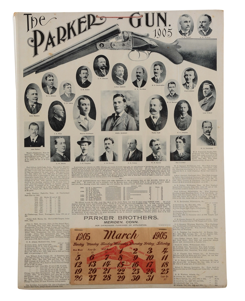 INCREDIBLY RARE PARKER BROS. POSTER AND CALENDAR DATED 1905