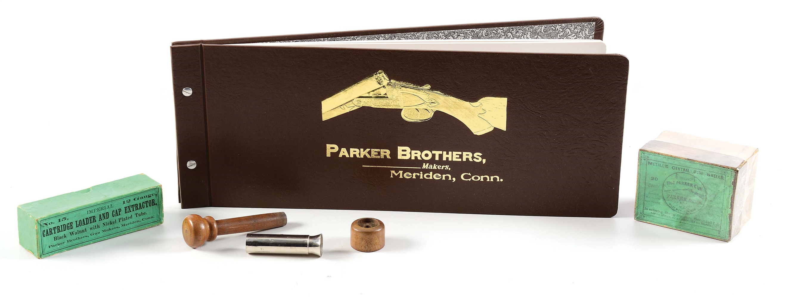 A PARKER BROS. COLLECTORS LOT INCLUDING AN INCREDIBLY RARE TWO PIECE PARKER SHELL BOX.