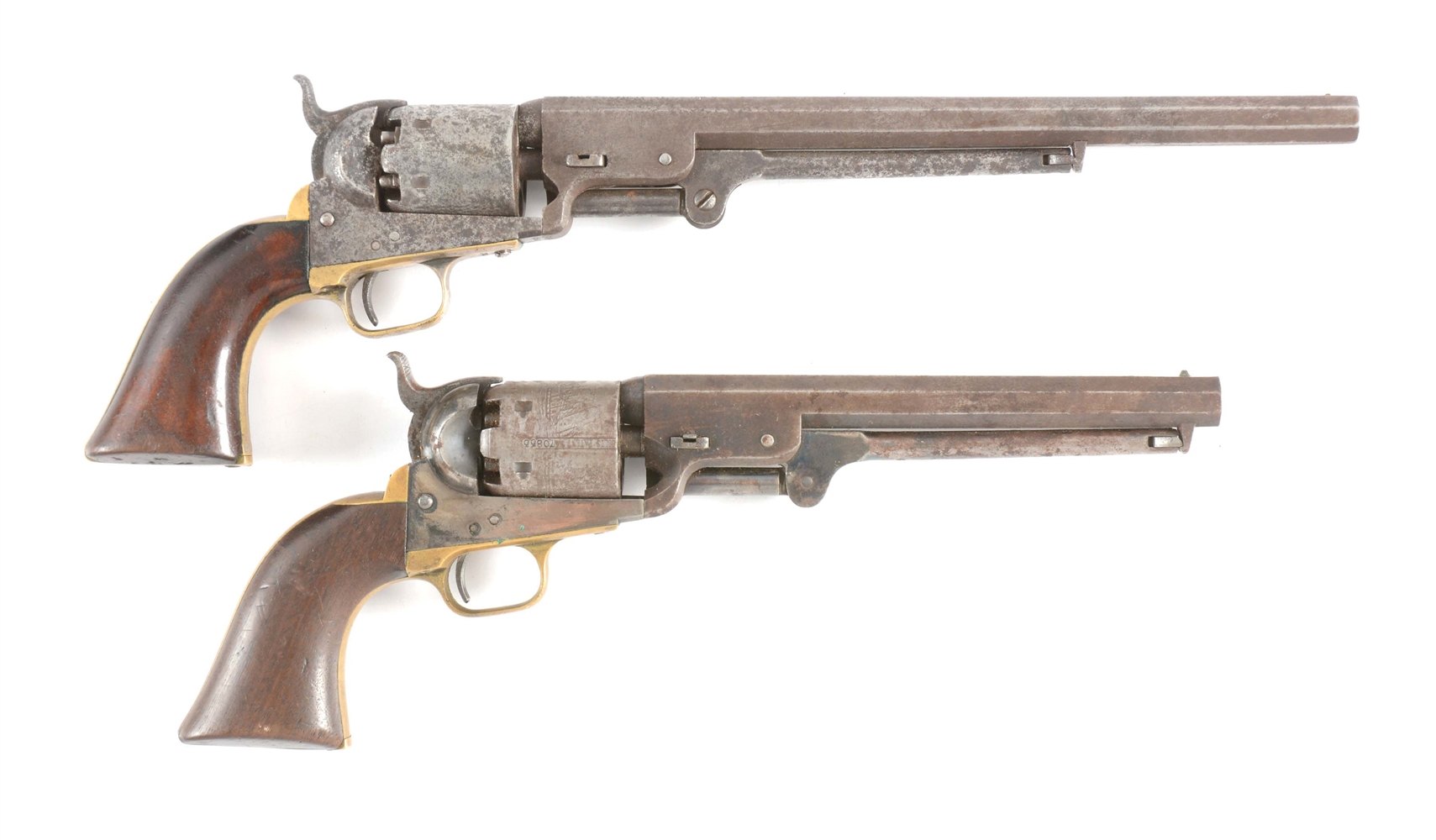 "(A) LOT OF TWO COLT 3RD MODEL 1851 NAVY REVOLVERS: 1852 WITH 10 - 1/2"" BARREL & 1855 MARTIAL."