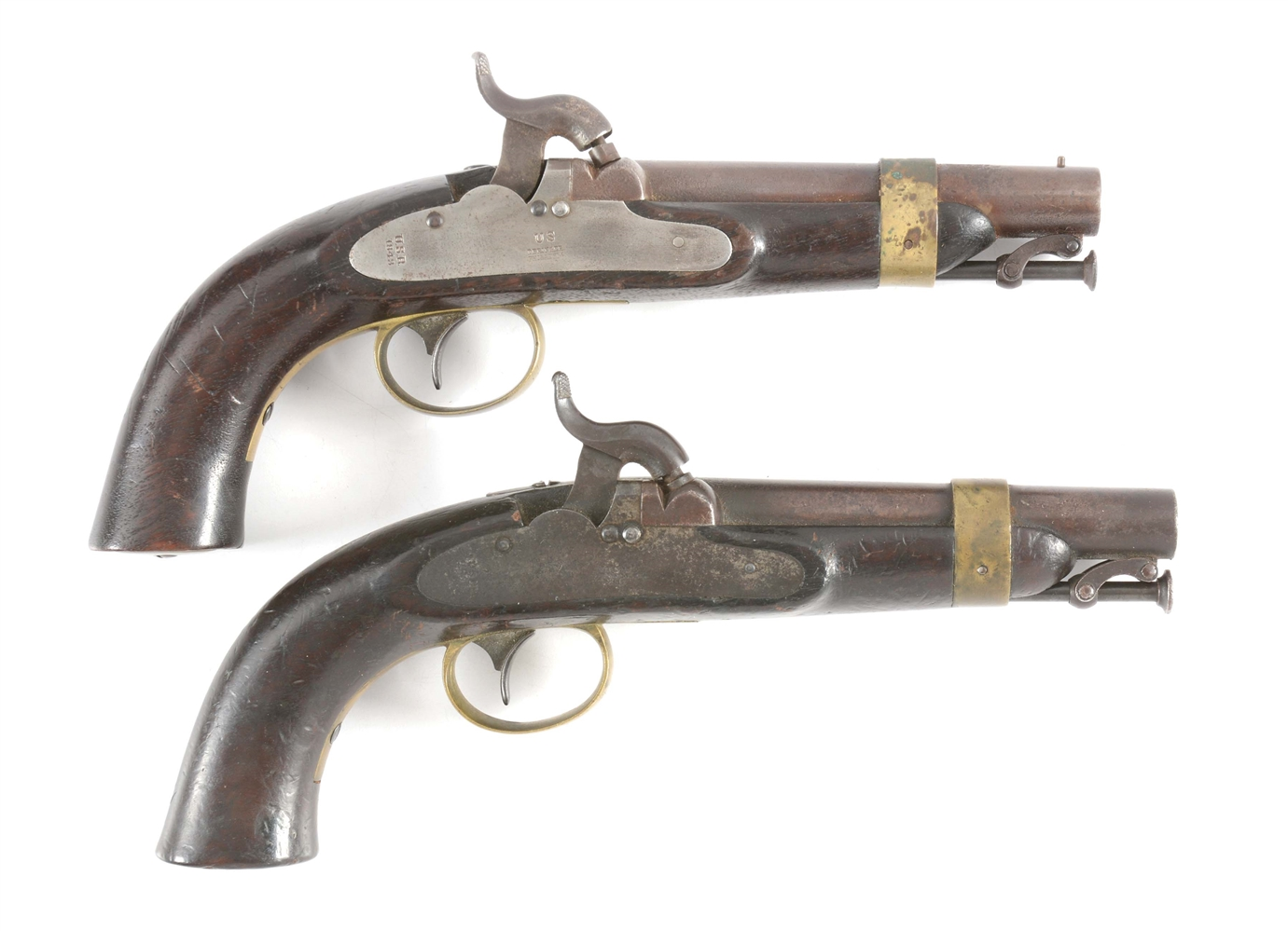 (A) LOT OF TWO: BOXLOCK MODEL 1843 US NAVY CIVIL WAR PISTOLS.