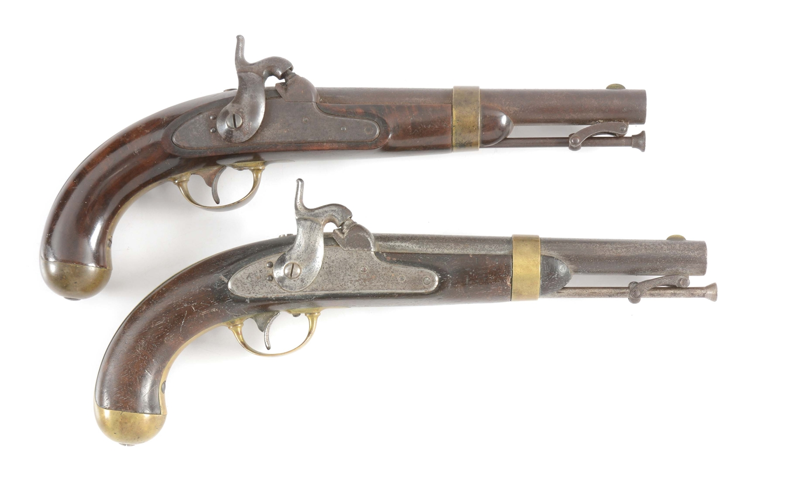(A) LOT OF TWO H. ASTON MODEL 1842 PERCUSSION PISTOLS, DATED 1851 & 1849.