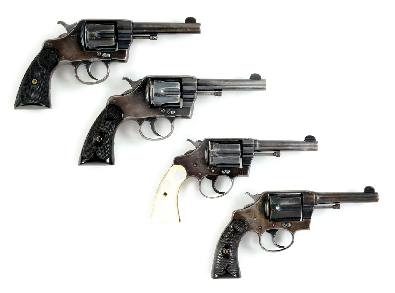 (C) LOT OF FOUR: FOUR COLT DOUBLE ACTION REVOLVERS, TWO NEW ARMIES AND TWO POLICE POSITIVES.