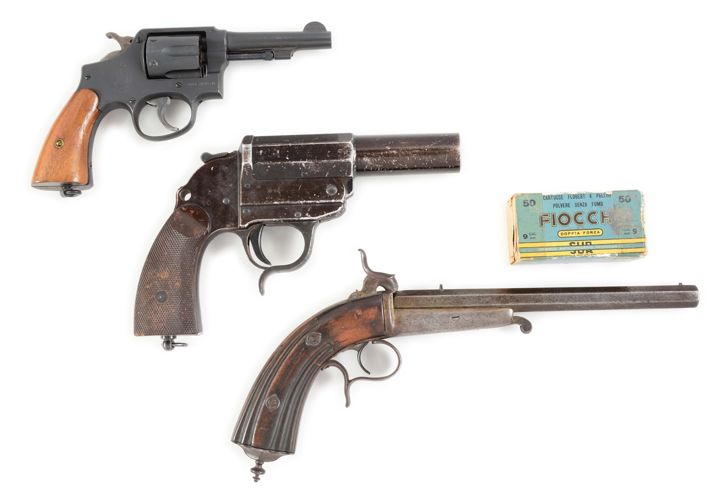 (C+A) LOT OF THREE: SMITH AND WESSON REVOLVER, WALTHER FLARE PISTOL, AND GAUBERT RIMFIRE PISTOL.