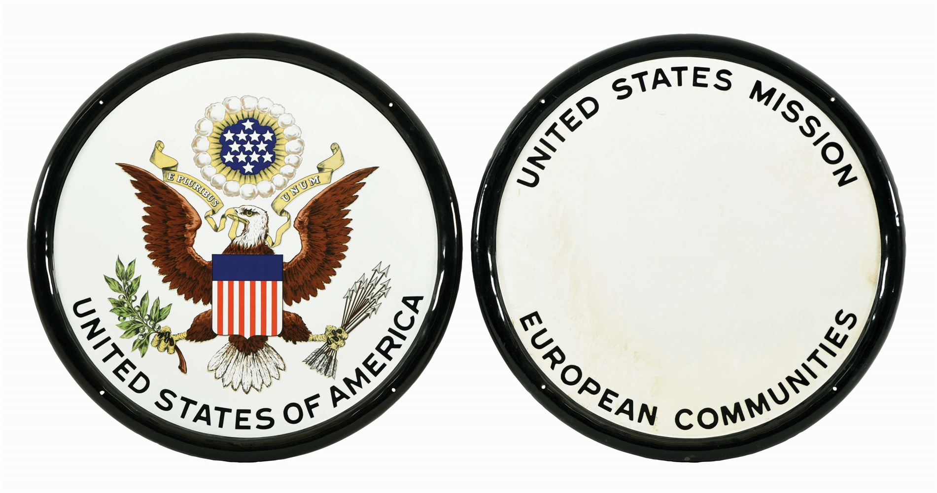 PAIR OF PORCELAIN EMBASSY SEALS.