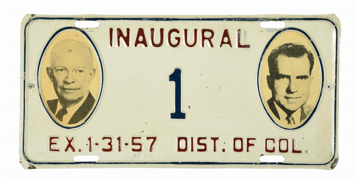 1957 PRESIDENTIAL INAUGURATION PLATE NUMBER 1.
