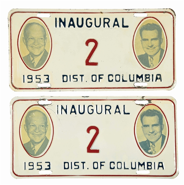 PAIR OF 1953 PRESIDENTIAL INAUGURATION LICENSE PLATES.