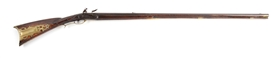 (A) FINE RELIEF CARVED FLINTLOCK KENTUCKY RIFLE SIGNED BY PETER BERRY.