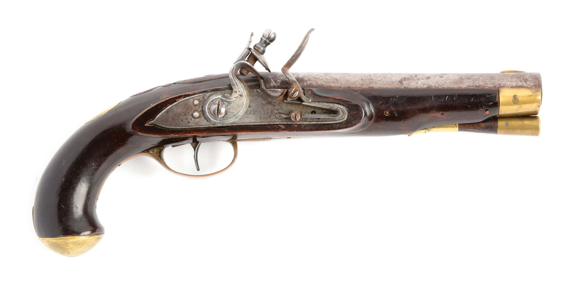 (A) RELIEF CARVED FLINTLOCK KENTUCKY PISTOL ATTRIBUTED TO FREDERICK SELL
