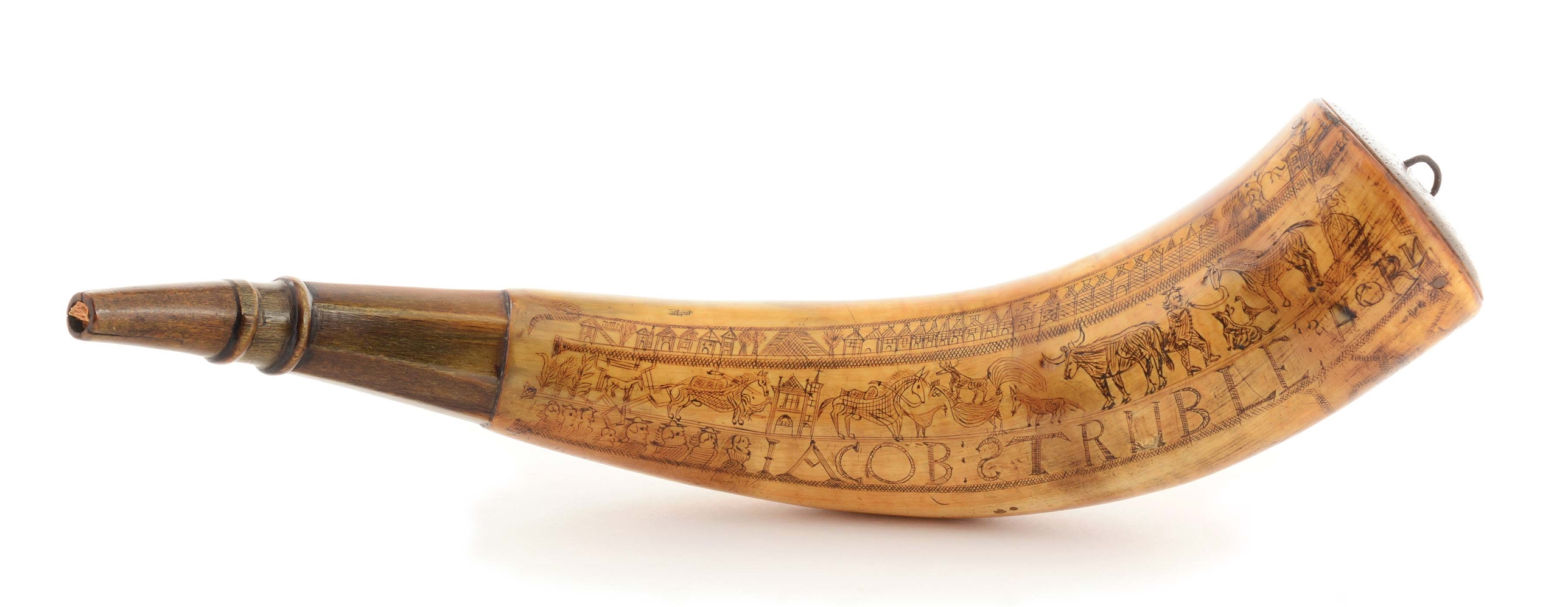 LARGE ENGRAVED POWDER HORN OF JACOB STRUBLE.