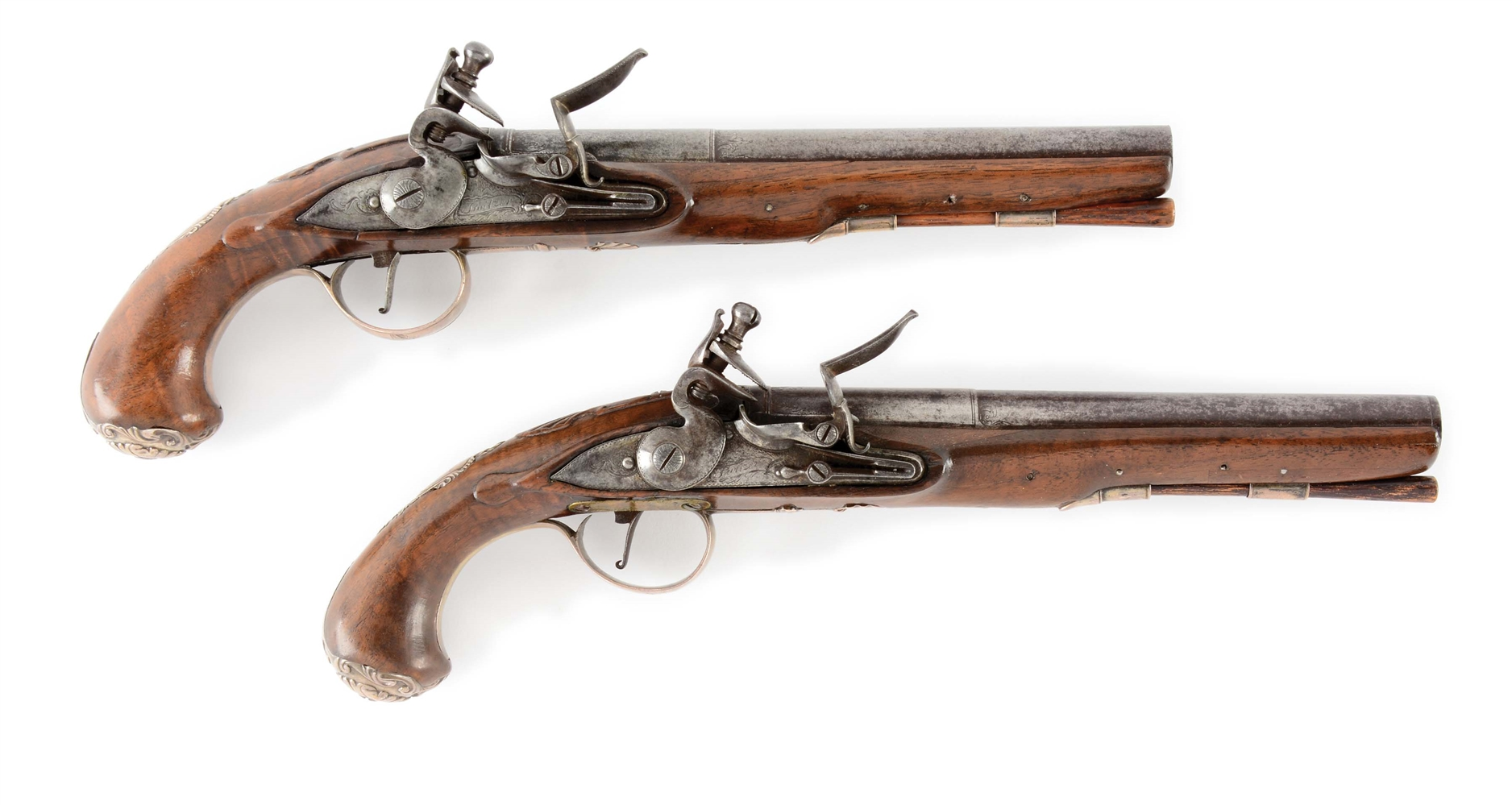 (A) PAIR OF SILVER MOUNTED AMERICAN OFFICERS PISTOLS SIGNED SWIETZER.