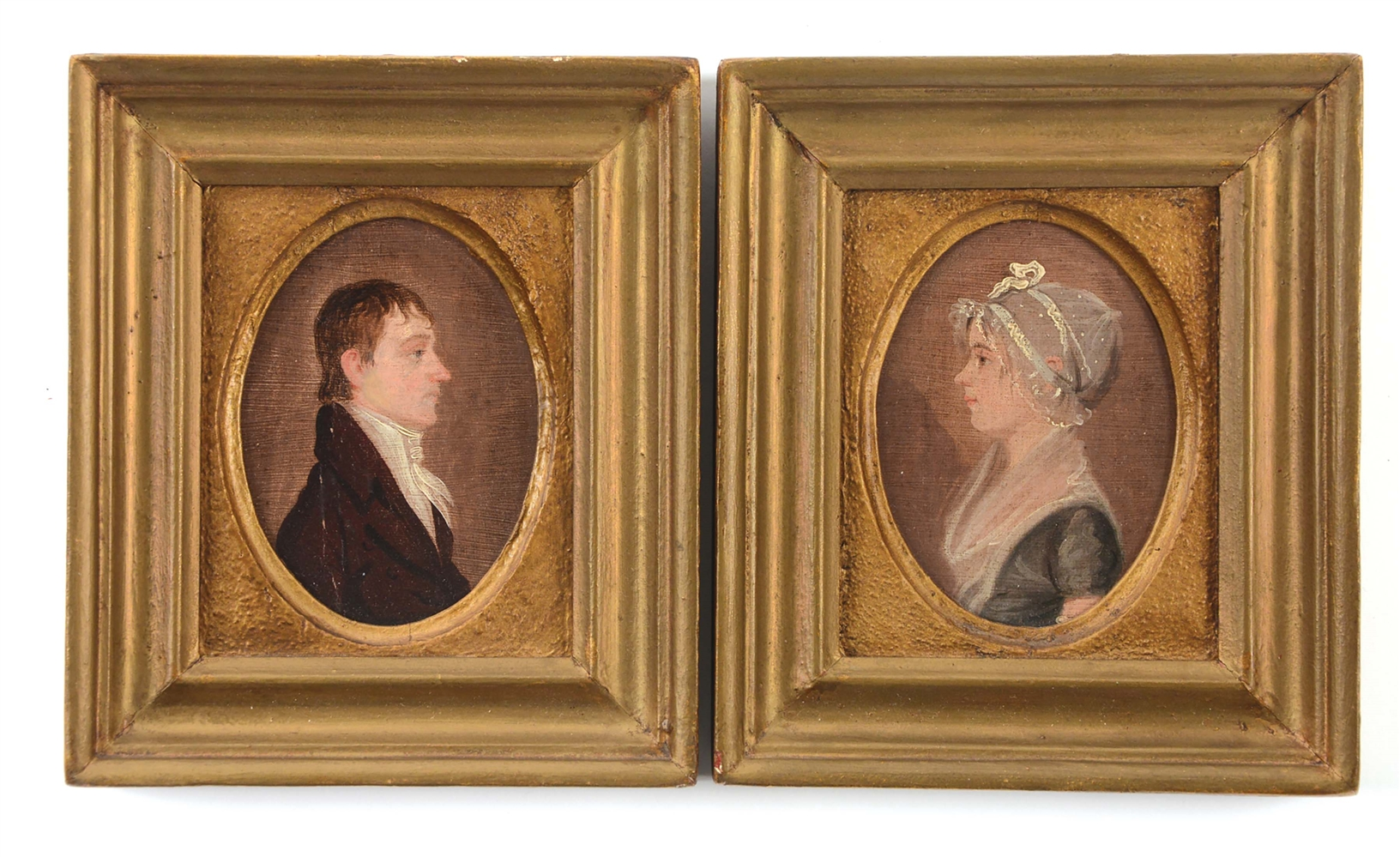 PAIR OF PORTRAITS OF UNUSUALLY SMALL SIZE ATTRIBUTED TO JACOB EICHOLTZ (1776 - 1842). LANCASTER, PENNSYLVANIA. OIL ON POPLAR PANEL. CIRCA 1808.