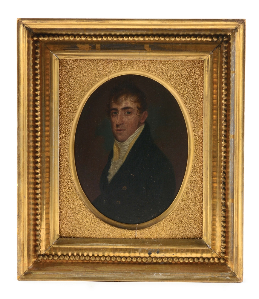 PORTRAIT OF A GENTLEMAN ATTRIBUTED TO JACOB EICHOLTZ (1776 - 1842). LANCASTER, PENNSYLVANIA. OIL ON POPLAR PANEL. CIRCA 1810.
