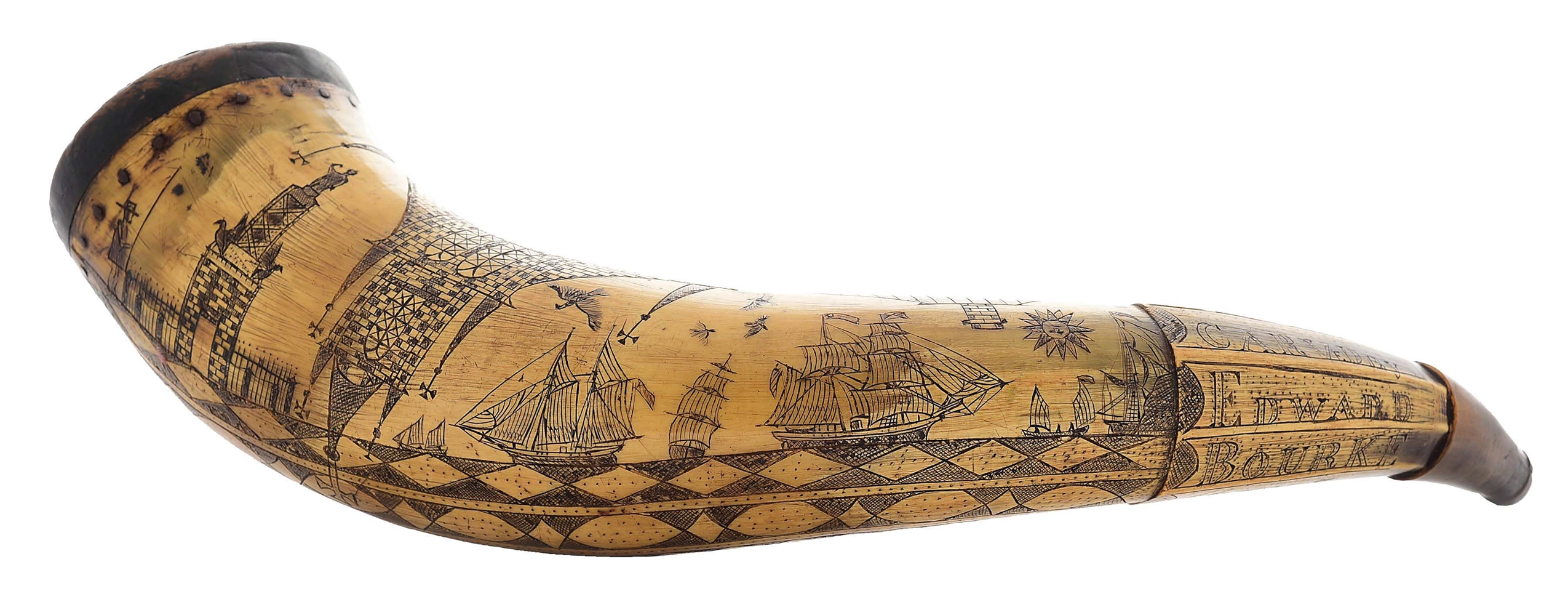 LARGE ENGRAVED POWDER HORN OF EDWARD BOURKE DATED 1868.