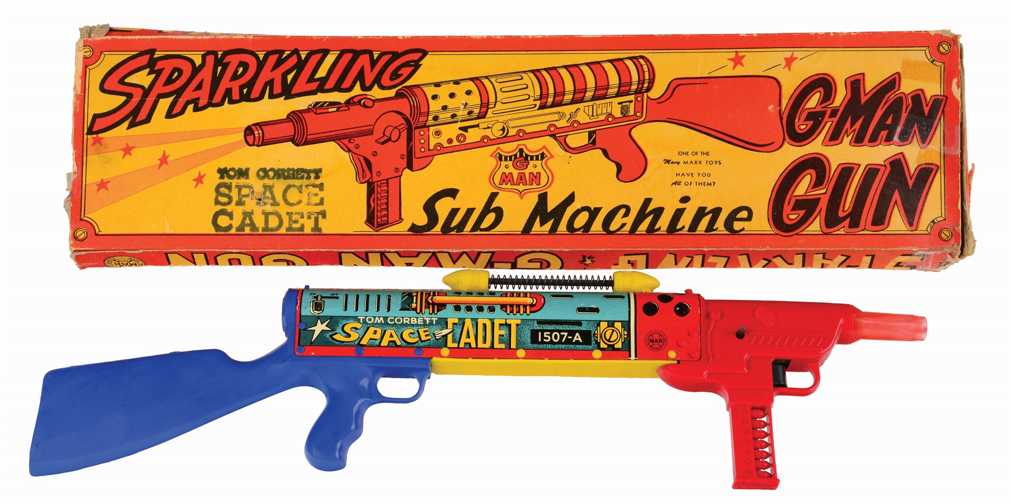 MARX TIN-LITHO AND PLASTIC TOM CORBETT WIND-UP SPACE CADET TOY SUBMACHINE GUN.