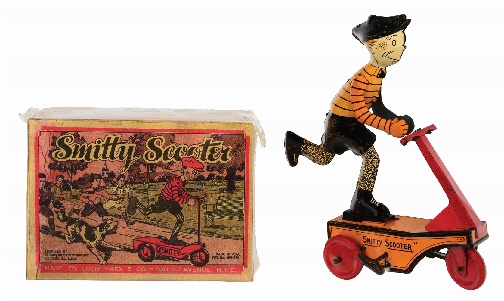 MARX TIN-LITHO WIND-UP SMITTY SCOOTER TOY.