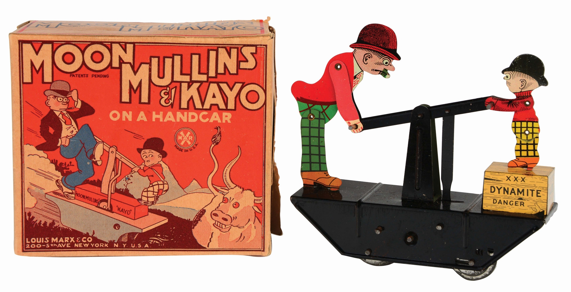 MARX TIN-LITHO WIND-UP MOON MULLINS & KAYO HANDCAR TOY IN ORIGINAL BOX.
