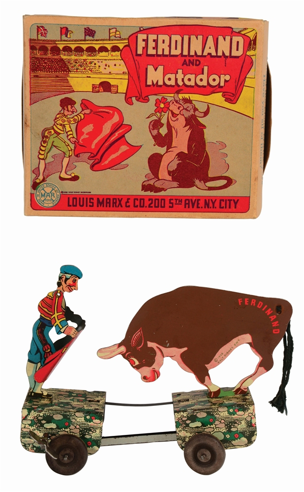 MARX TIN-LITHO WIND-UP FERDINAND THE BULL AND MATADOR TOY IN ORIGINAL BOX.