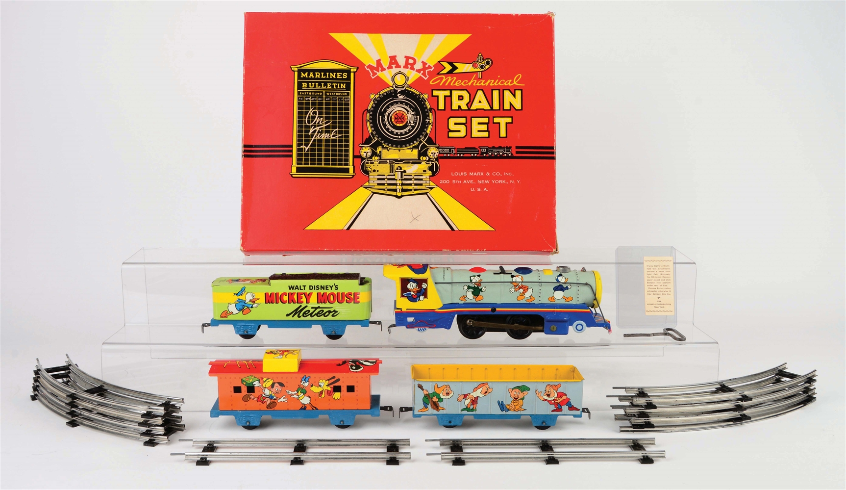 MARX TIN-LITHO WIND-UP WALT DISNEY MICKEY MOUSE METEOR TRAIN SET WITH ORIGINAL BOX.