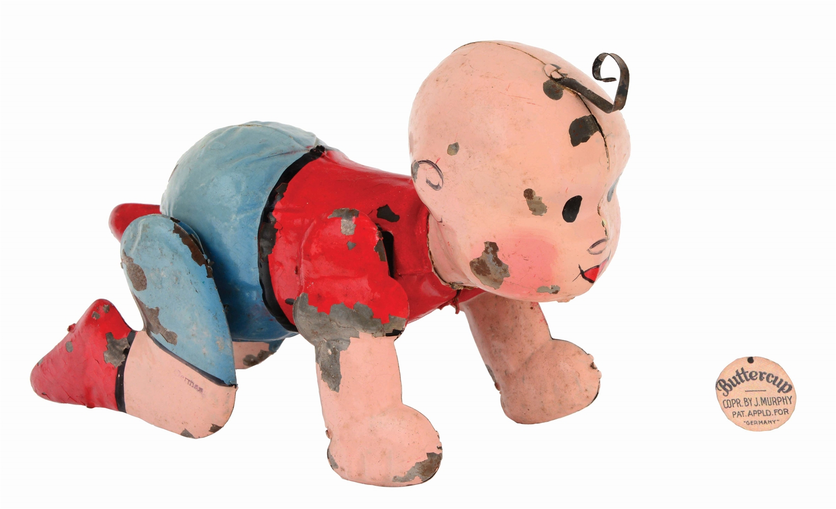 GERMAN HAND-PAINTED WIND-UP BUTTERCUP COMIC WALKING TOY.