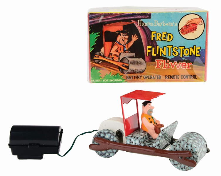 MARX TIN-LITHO AND PLASTIC FRED FLINTSTONE BATTERY-OPERATED FLIVVER TOY.